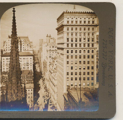 Broadway Greatest Business Street New York City NY White Stereoview 1905