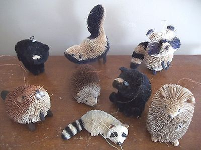 WOODLAND CHIC bottle brush BEAVER RACCOON BEAR Christmas Tree Ornaments animals