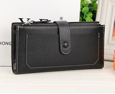 Black Women Leather Clutch Wallet Long Card Holder Zipper Cases Purse Handbags