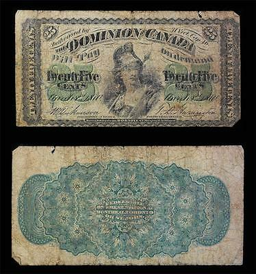 1870 Dominion of Canada Fractional 25 cent note-Britannia w/spear Blk on Green