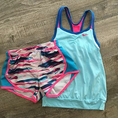 Girls nike dry fit shorts tank top shirt EUC size small 8 9 10 S active workout
