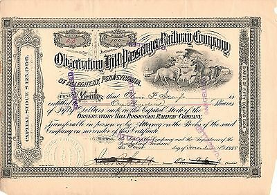"""""""rare"""" - Observatory Hill Passenger R.r. Co. Of Allegheny - Stock Certificate"""