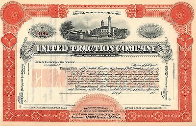 """Rare - United Traction Company - """"unissued"""" Stock Certificate - Common - Red"""
