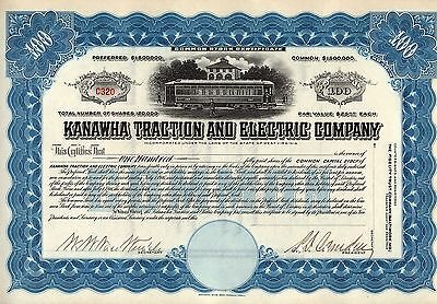 Rare - Kanawha Traction And Electric Company Stock Certificate - Unissued-Blue