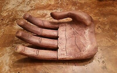 HAND CARVED Large Wood Hand Decoration