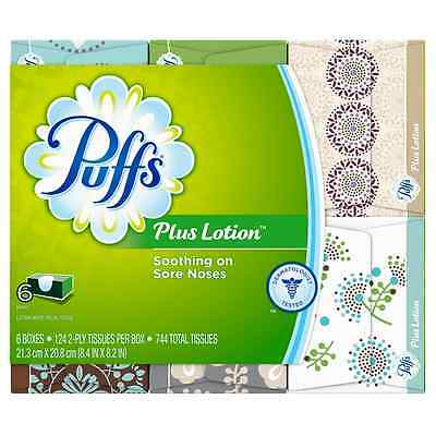 Puffs Plus Lotion Facial Tissues, 24 Family Boxes, 124 Tissues per Box