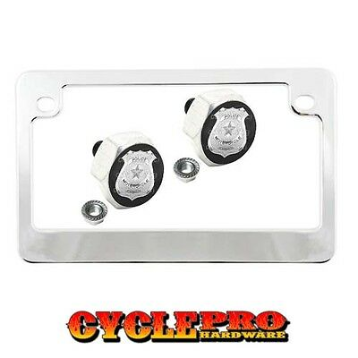 Chrome Metal Motorcycle License Plate Frame Hex Tag Bolt Kit SILVER POLICE BADGE