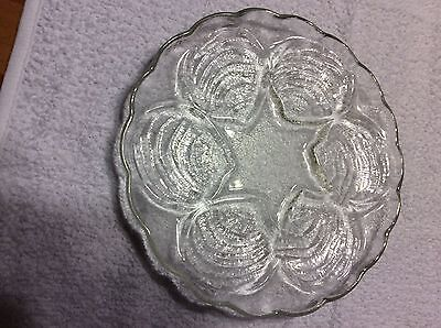 Vintage Clear Glass Oyster / Clam  Plate w/ scalloped edge
