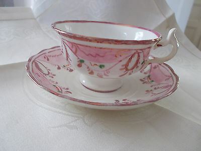 Artist-marked, vintage English  'green dot' Pink Lustre cup and saucer