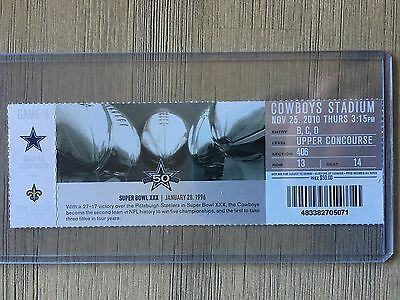 2010 Dallas Cowboys vs New Orleans Saints Official NFL Ticket Stub 11/25/2010