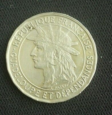 1921 Guadeloupe 1 Franc See pictures