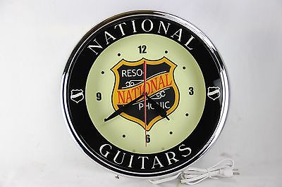 2011 National Guitars Neon Advertising Clock Doulian Tricone Resophonic In Box!