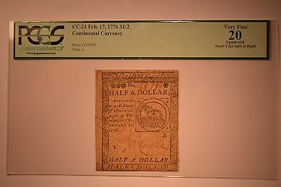 Continental Currency February 17, 1776 $1/2 PCGS Apparent Very Fine 20.