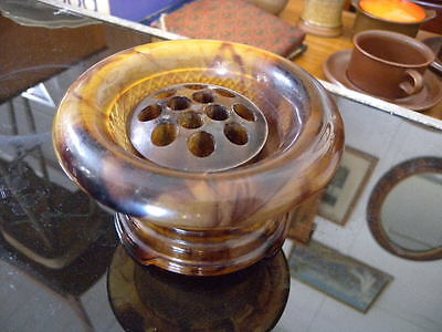 Vintage Frosted Amber Tortoiseshell Glass Flower Frog & Float Bowl & Stand Engla