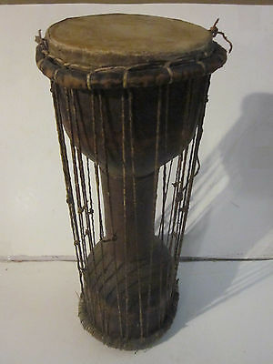 Vintage Tribal African Double Sided Drum Real Animal Skins & Sewn