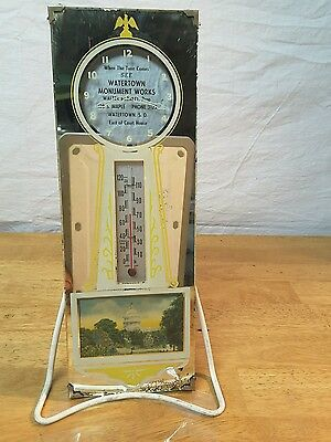 1910-1920's Advertising Thermometer/Mirror Watertown Monument Works Watertown S.