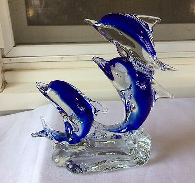 Murano Blue & Clear Art Glass  Family Of 3 Jumping Dolphins On Waves Figurine