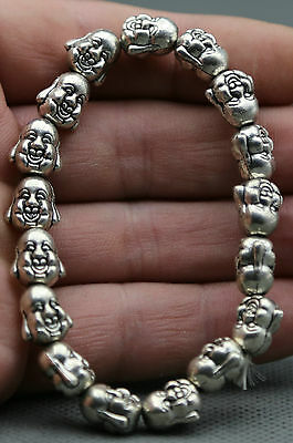 10MM Chinese Buddhism Miao Silver Buddha Head Bust fashion BODICI-HOUSE bracelet