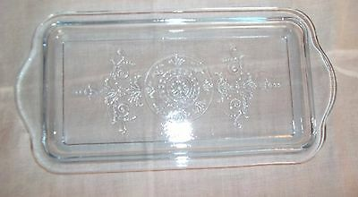 """VINTAGE CLEAR GLASS OBLONG REFRIGERATOR DISH LID COVER EMBOSSED 10 1/8"""" x 5 1/4"""""""