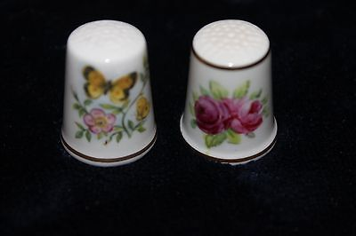 2 Royal Worcester Fine Bone China Thimbles - England - Flowers