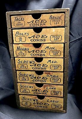 Antique ACE COMBS General Store Display Wood Advertising Case Drawers
