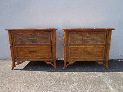 Pair of Nightstands Vintage Faux Bamboo Nightstand Bedside Table Chippendale