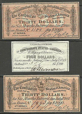 3 Nice Civil War, Confederate Bond receipts, A 1861- $4 & 2-1864 -$30s *Super*