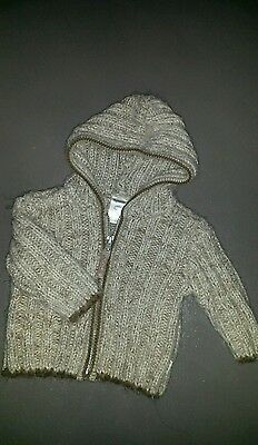 Warm Pumpkin Patch Boys knitted Hooded Jumper - Size 00 or 3 - 6 months