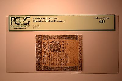 Pennsylvania July 20, 1775 40s PCGS Extremely Fine 40.