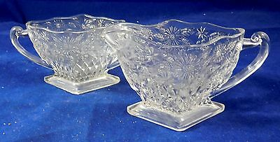 Vintage Clear Pattern Glass Diamond Shaped Sugar Bowl & Creamer - Age Unknown