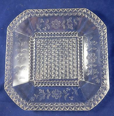 Vintage EAPG Clear Pattern Glass Square Cut Corner Plate - Age Unknown