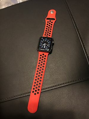 New Nike+ Style Apple Watch 42mm Red/Black Replacement Sport Band