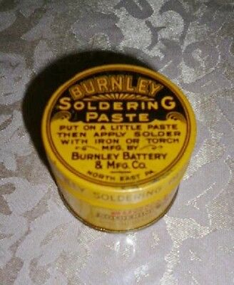Vintage Burnley Batttery Co Soldering Paste Yellow Black Tin Can FULL (WC)