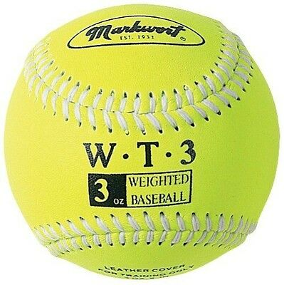 Markwort Weighted 9-Inch Baseballs-Leather Cover (Individually Boxed), Optic Yel