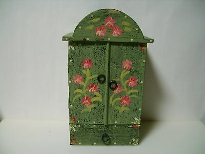 Vintage Doll Wooden Clothes Wardrobe Furniture Armoire Shabby Handmade-Painted