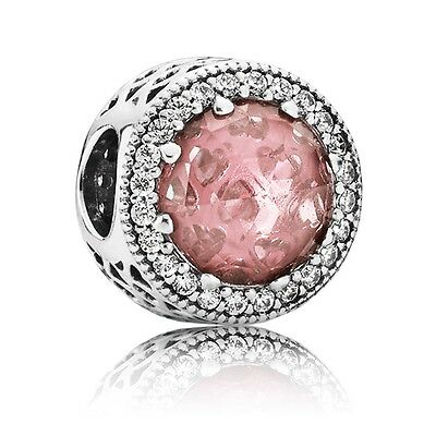 Authentic Pandora Silver Hearts Blush Pink Crystal CZ Bead 791725NBP