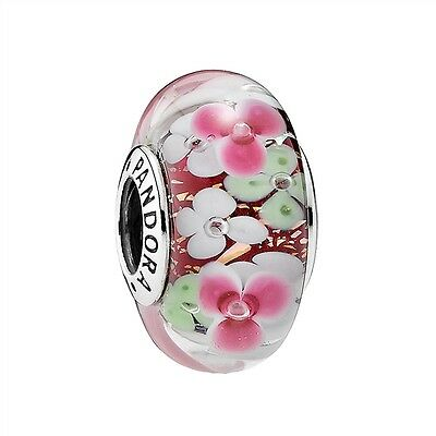 Authentic Pandora Sterling Silver Flower Garden Murano Glass Bead 791652