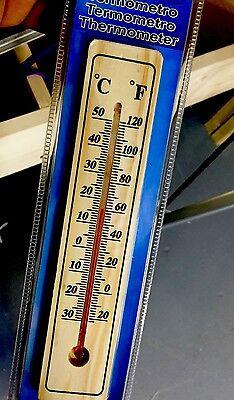 Garden Wooden Wall Thermometer Out Door Very Nice Thermometer NEW