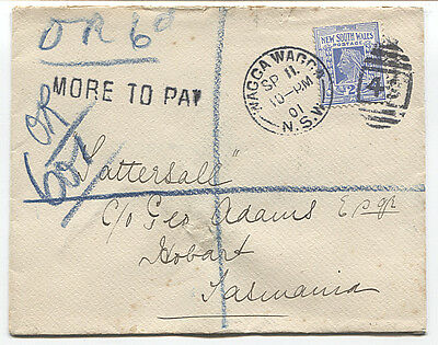 NEW SOUTH WALES  1901: OFFICIALLY REGISTERED (and taxed) cover to HOBART