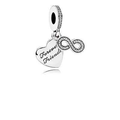 Authentic Sterling Silver Pandora Forever Friends Dangle Charm 791948CZ