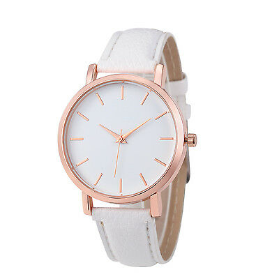 Fashion Women Casual Watches White Leather Stainless Steel Analog Quartz Watch