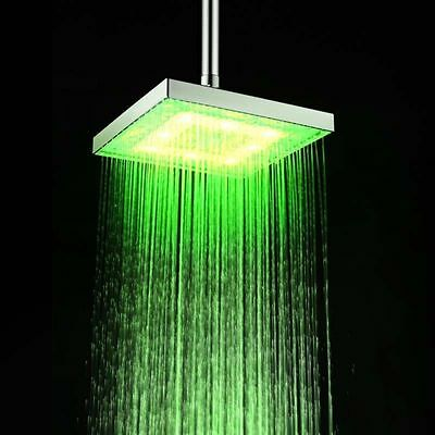 "3 Colors Temperature Sensitive Changing 8"" Bathroom LED Light Rain Shower Head"