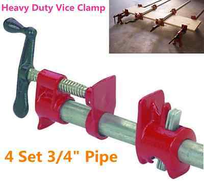 """4 Set 3/4"""" Inch Wood Gluing Pipe Clamp Set Heavy Duty Pro Woodworking Hand Tool"""