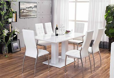 New Imperia White High Gloss Dining Table Set And 6 Chrome Faux Leather Chairs