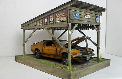 1:18 1970 Ford Mustang Barn Find Diorama w/lights