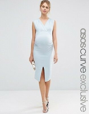 Asos maternity size 12 bodycon dress baby blue worn once