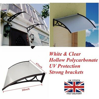 White Clear Door Canopy Front Back Roof Porch Awning Shelter Shade Patio Cover