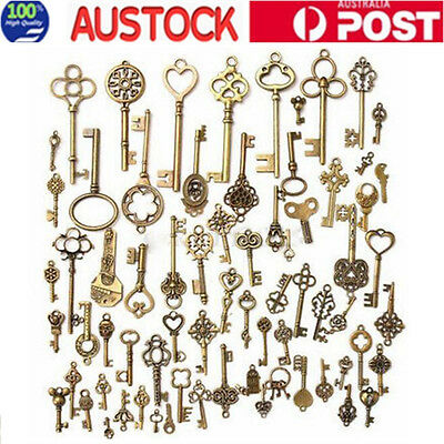 Random 70pcs/sets Antique Vintage Old Look Bronze Skeleton Keys Decoration