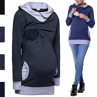Happy Mama. Women's Nursing Hoodie Breastfeeding Contrast Detail Maternity. 467p
