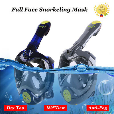XS-XL Full Face Snorkeling Snorkel Mask Diving Goggles W/Breather Pipe For GoPro